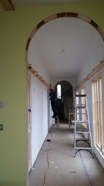 Beginning of Wooden Arch Ceiling
